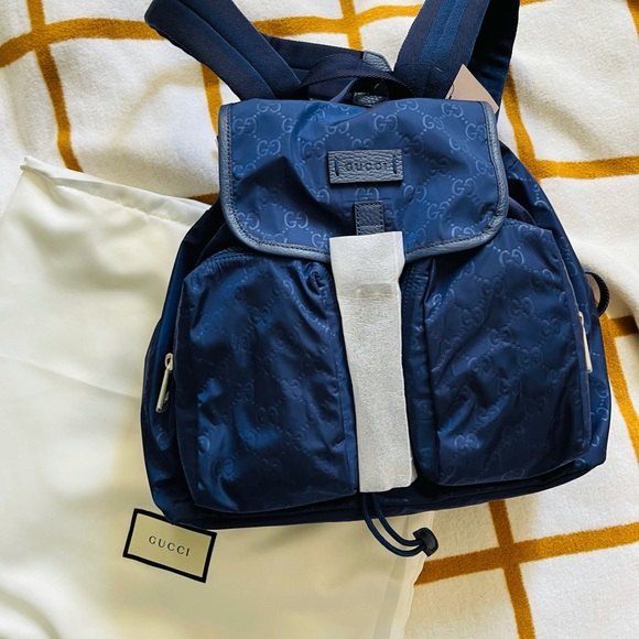 Gucci Nylon Gg ssima Backpack Rucksack Purse Bag